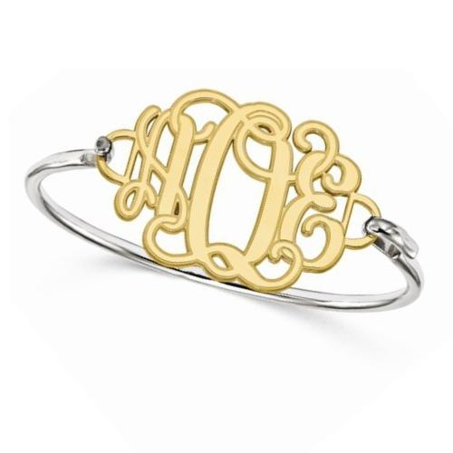 Three Initial Monogram Bangle Bracelet 14k Gold w Sterling Silver