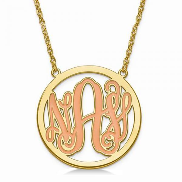 enamel monogram initial circle pendant necklace gold
