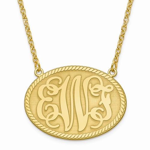 Medium Oval Monogram Initial Pendant Necklace Gold on Sterling Silver