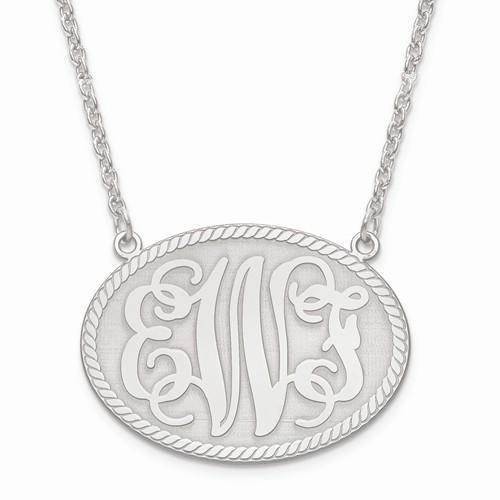 medium oval monogram initial plate pendant necklace 14k. Black Bedroom Furniture Sets. Home Design Ideas