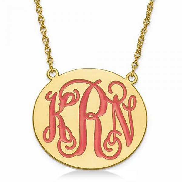Enameled Monogram Initial Large Plate Pendant Gold on Sterling Silver