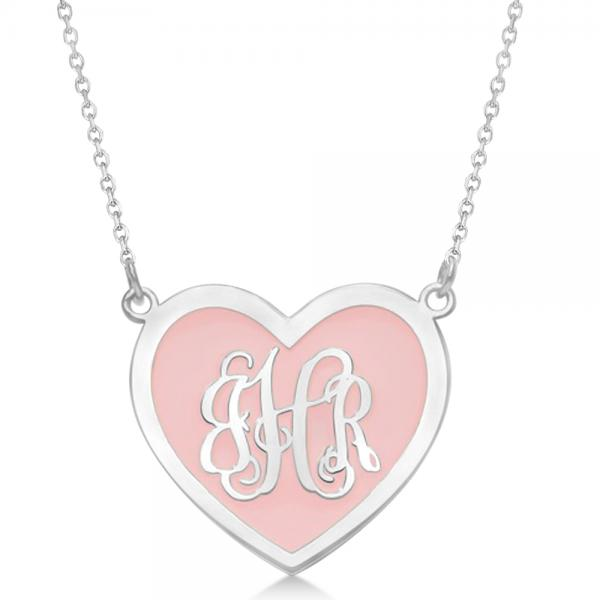 Enameled Heart Monogram Initial Pendant Necklace in Sterling Silver