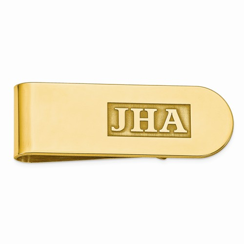 Raised Letters Monogram Initial Money Clip Gold over Sterling Silver