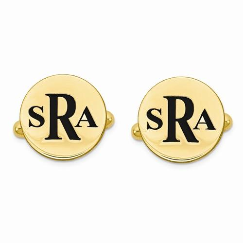 Black Enameled Circle Monogram Initial Cufflinks Gold Vermeil