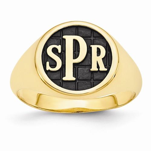 Monogram Initial Signet Fashion Ring in 14k Yellow Gold
