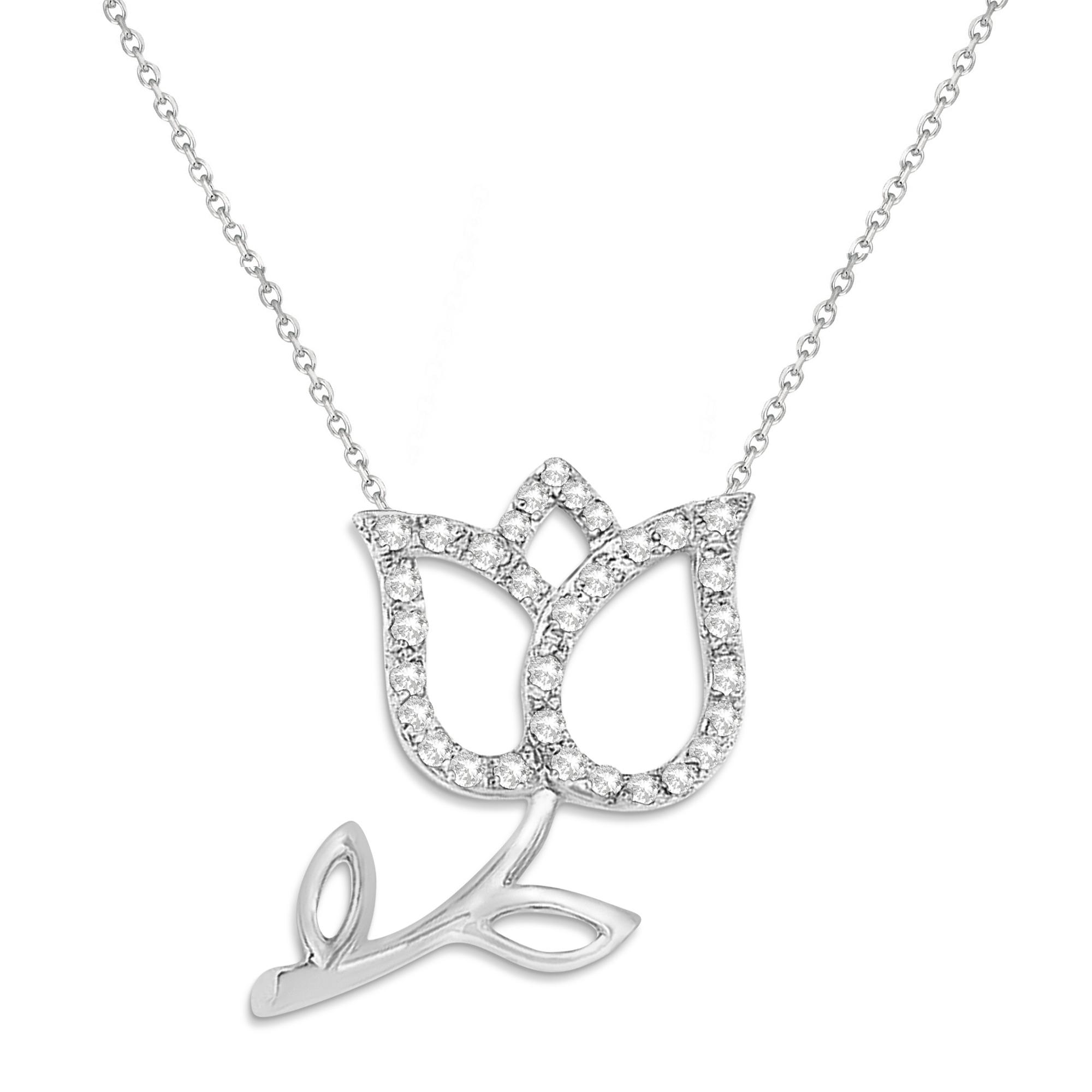 Diamond Tulip Flower Pendant Necklace 14k White Gold (0.14ct)