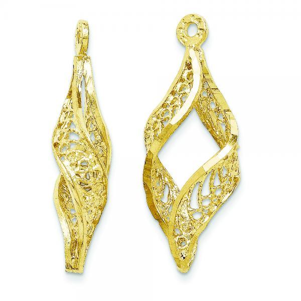 Filigree Swirl Earring Jackets in Plain Metal 14k Yellow Gold