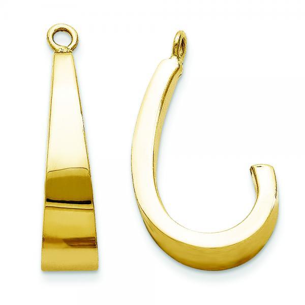 J-Hoop Earring Jackets in Plain Metal 14k Yellow Gold