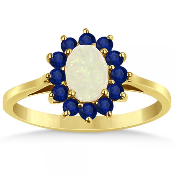 Oval Opal & Blue Sapphire Fashion Ring in 14k Yellow Gold (0.95ct)