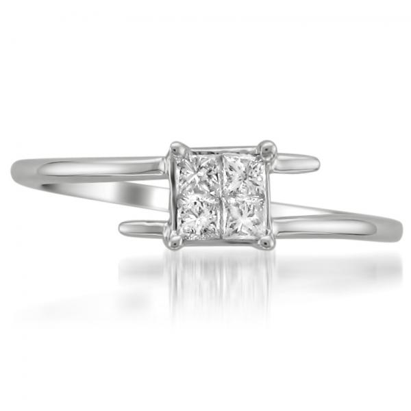 Princess Cut Diamond Bypass Promise Ring in 14k White Gold (0.33ct)