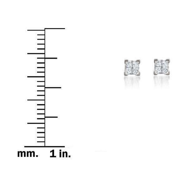 Invisible Set Princess Cut Diamond Studs in 14k White Gold (0.25ct)