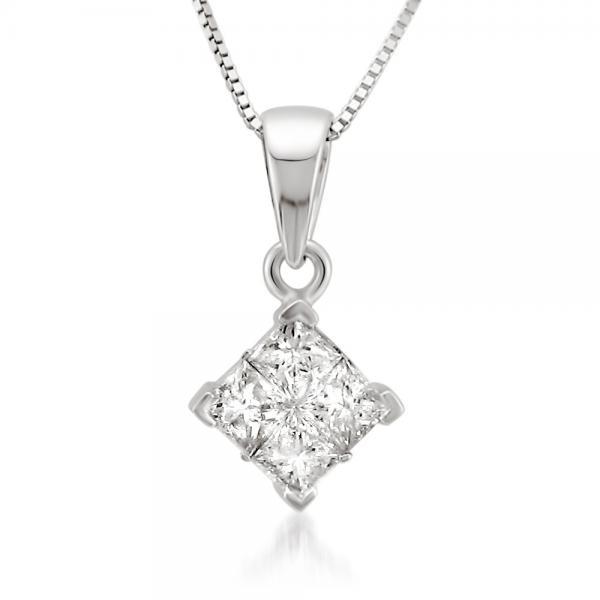 Invisible Set Princess Cut Pendant Diamond Necklace 14k W. Gold 0.25ct