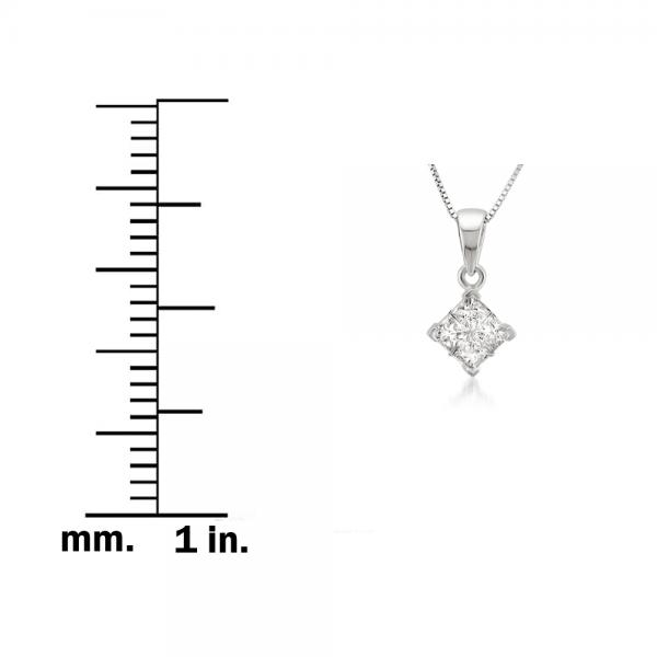 Invisible Set Princess Cut Pendant Diamond Necklace 14k W. Gold 0.25ct