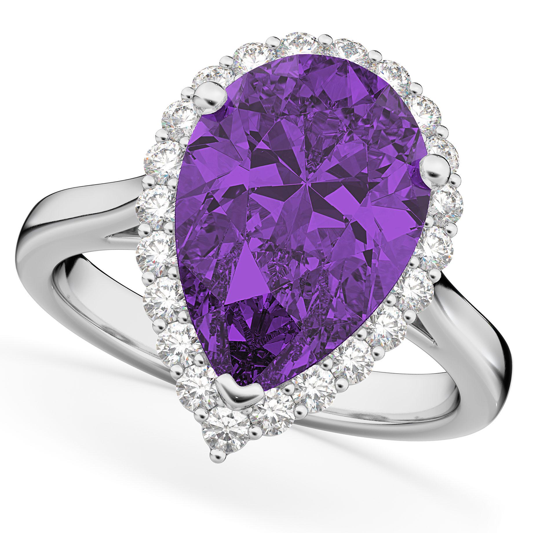 Pear Cut Halo Amethyst & Diamond Engagement Ring 14K White Gold 5.44ct