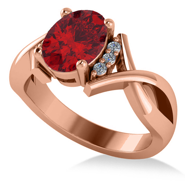 Twisted Oval Ruby Engagement Ring 14k Rose Gold (2.29ct)