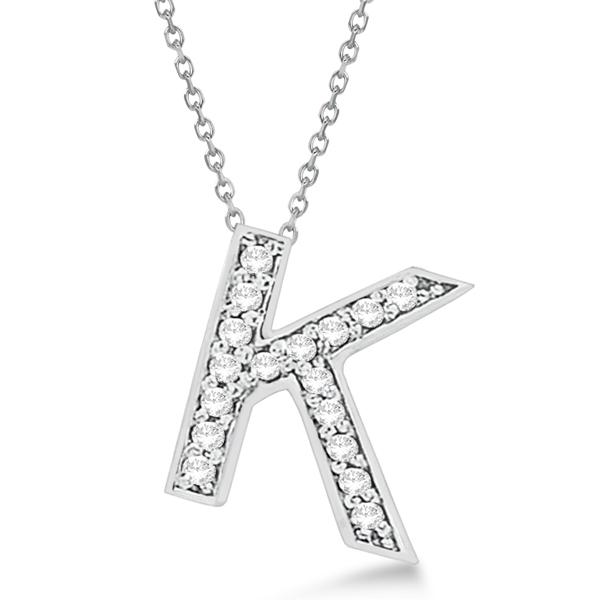 Custom Tilted Diamond Block Letter K Initial Necklace in 14k White Gold