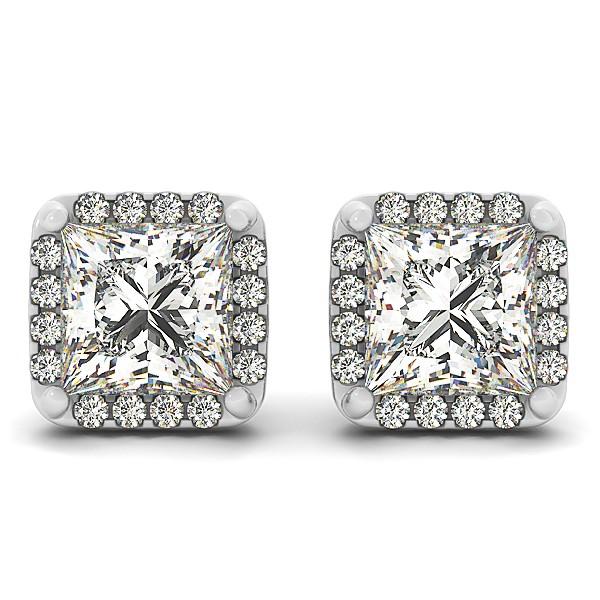 Diamond Princess-cut Square Halo Stud Earrings 14k White Gold (1.70ct)