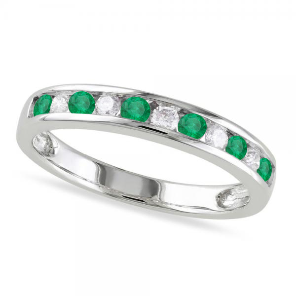 Channel Set Round Emerald & Diamond Wedding Band 14k White Gold (0.56ct)