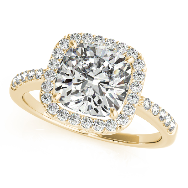 Cushion Cut Diamond Halo Engagement Ring 14k Yellow Gold (1.00ct)