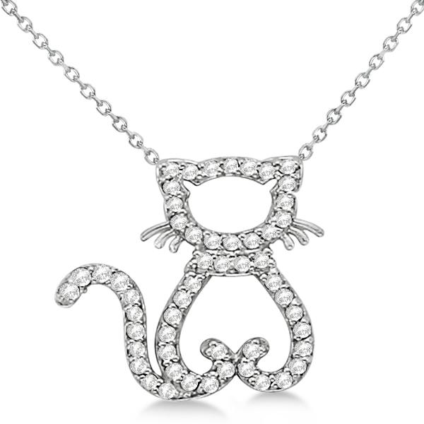 Diamond Cat Shaped Pendant Necklace 14k White Gold (0.27ctw)