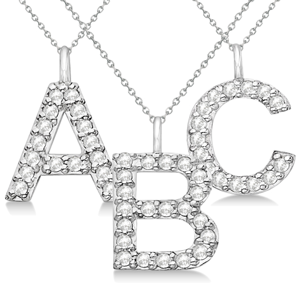"""Customized Block-Letter Pave Diamond """"M"""" Initial Pendant in 14k White Gold"""