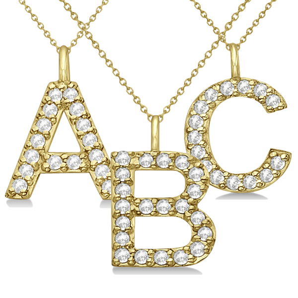 Customized Block-Letter Pave Diamond Initial Pendant in 14k Yellow Gold (C)