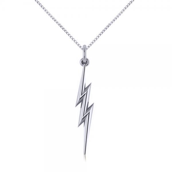 Lightning Bolt Drop Pendant Necklace in Plain Metal 14k White Gold