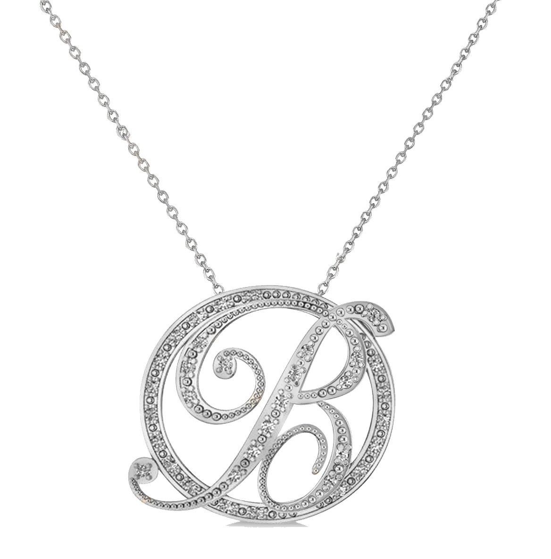 Diamond circle script b initial pendant necklace 14k white gold aloadofball Image collections