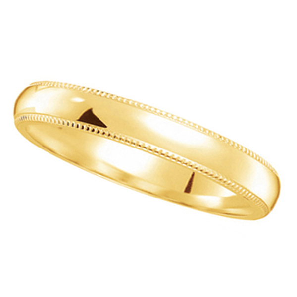 14k Yellow Gold Wedding Band Dome Comfort-Fit Milgrain (3mm) Size 6.75