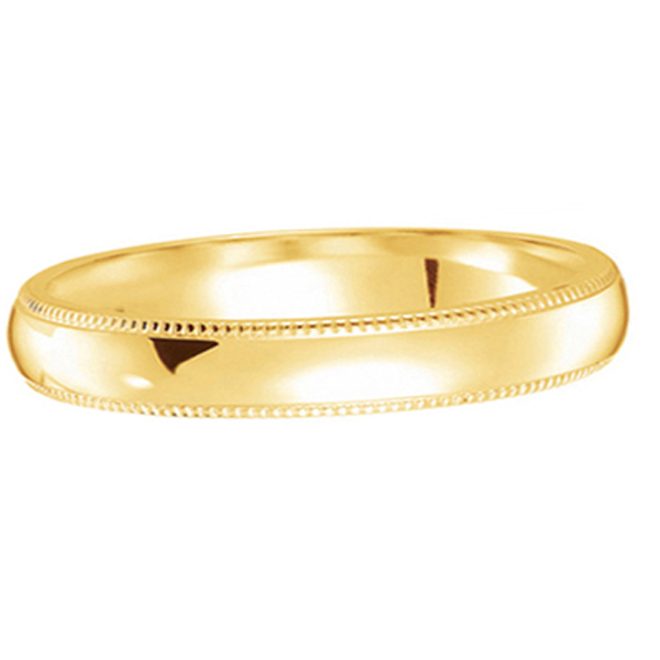 Unisex Wedding Band Dome Comfort-Fit Milgrain 14k Yellow Gold (4 mm) Size 10