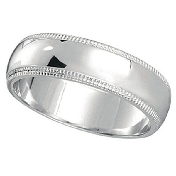 Men's Wedding Band Dome Comfort-Fit Miligrain 14k White Gold (6 mm) Size 6
