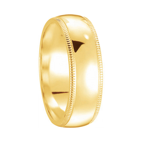 Unisex Wedding Band Dome Comfort-Fit Milgrain 14k Yellow Gold (6 mm) Size 8