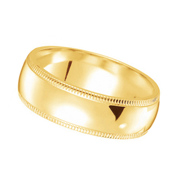 Unisex Wedding Band Dome Comfort-Fit Milgrain 14k Yellow Gold (7 mm) Size 9