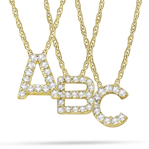 Petite Pave Diamond Initial Pendant Necklace 14k Yellow Gold V