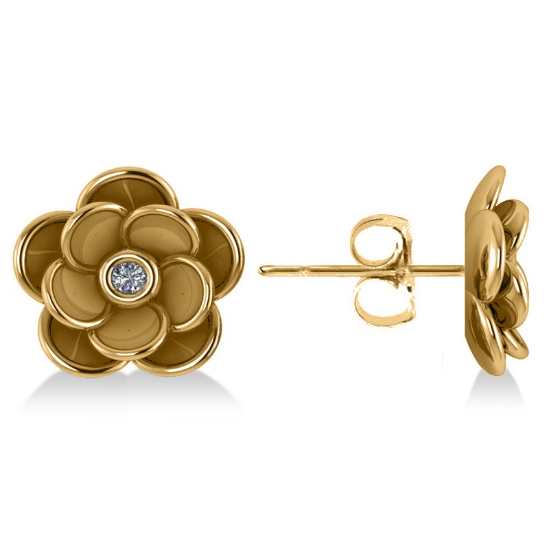 Diamond round flower earrings 14k yellow gold 003ct allurez diamond round flower earrings 14k yellow gold 003ct mightylinksfo