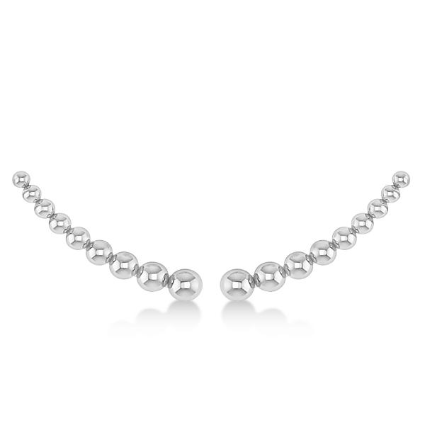 Graduating Beads Ear Cuffs Plain Metal 14k White Gold