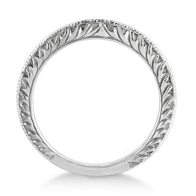 Antique Engraved Wedding Band w/ Filigree & Milgrain 14k White Gold Size 4.75