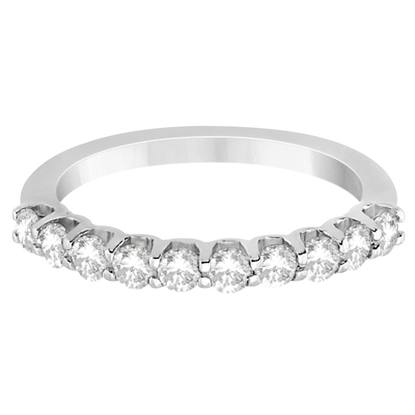 Prong Set Diamond Accented Wedding Band Platinum (0.50ct) Size 3