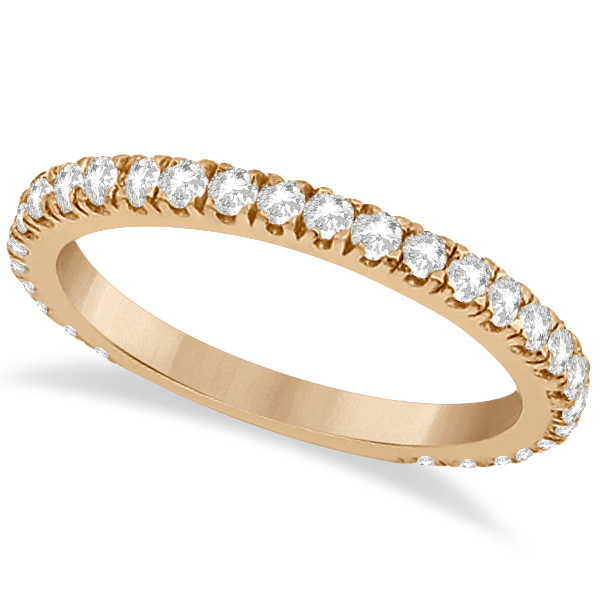 Round Diamond Eternity Wedding Ring 18K Rose Gold Diamond Band (0.58ct) Size 4.5