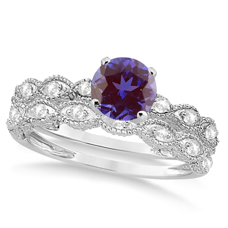 Vintage Alexandrite & Diamond Engagement Ring Bridal Set 14k White Gold (1.36ct)