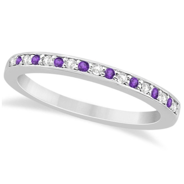 Amethyst & Diamond Wedding Band 14k White Gold 0.29ct