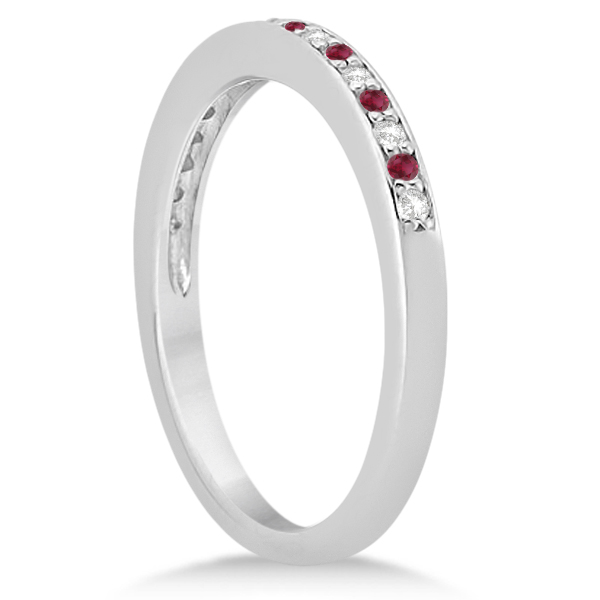 Ruby & Diamond Pave Side Stone Wedding Band 14k White Gold (0.25ct) Size 10