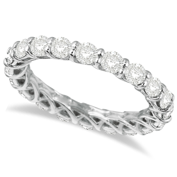 Luxury Diamond Eternity Anniversary Ring Band 14k White Gold (2.50ct) Size 4.75