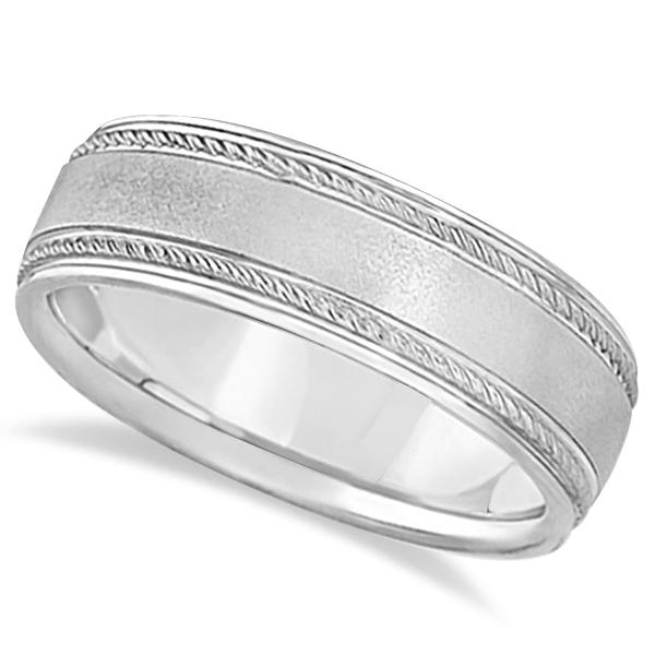 Matt Finish Men's Wedding Ring Milgrain 14k White Gold (7mm)