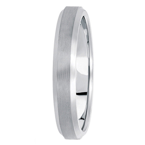 Comfort-Fit Carved Wedding Band in 14k White Gold (4mm) Size 7