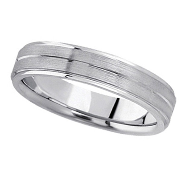 Carved Wedding Band in 14k White Gold For Men (5mm) Size 11.5