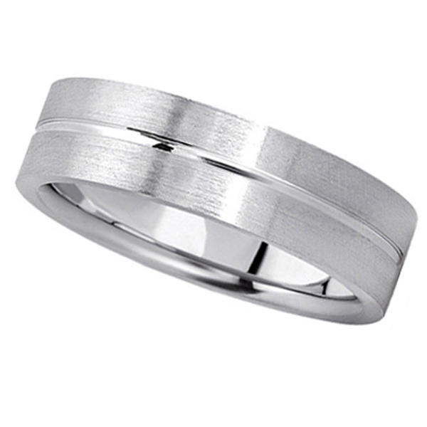Men's Carved Flat Wedding Band in 14k White Gold (6mm) Size 11.5