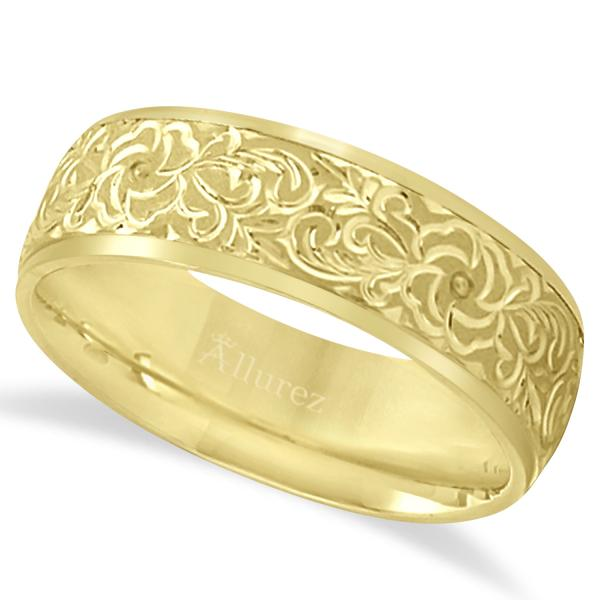 Hand-Engraved Flower Wedding Ring Wide Band 14k Yellow Gold (7mm)