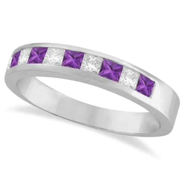 Princess Channel-Set Diamond & Amethyst Ring Band 14K White Gold