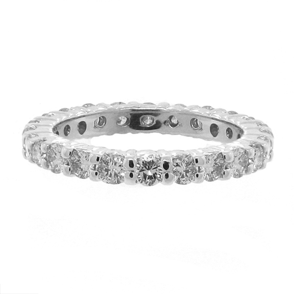 Diamond Eternity Ring Wedding Band 14k White Gold (1.07ctw) Size 6.5